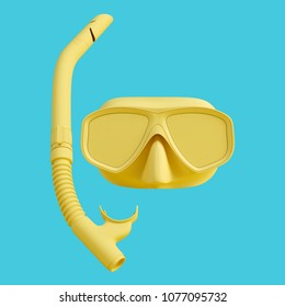 Yellow diving mask and snorkel isolated on blue background. Trendy fashion style. Minimal design art. 3d rendered illustration.