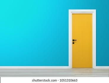 Yellow door with black handle in a gradient blue wall