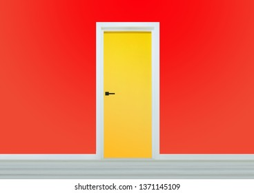 Yellow door with black handle in a red wall