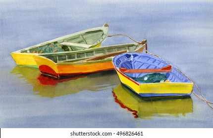 Yellow Dories.  Watercolor illustration, painting, of three yellow fishing dories floating on the water.  Hand painted