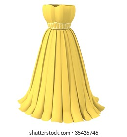 Yellow dress 1 - 3d computer generated