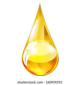 yellow drop of oil isolated on white background raster
