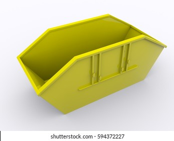 Yellow dumpster container 3d rendering