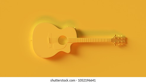 Yellow Electric Acoustic Guitar 3d illustration 3d rendering