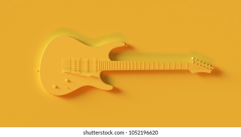 Yellow Electric Guitar 3d illustration 3d rendering
