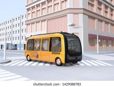 Yellow electric powered  autonomous shuttle bus driving through a intersection.  3D rendering image.