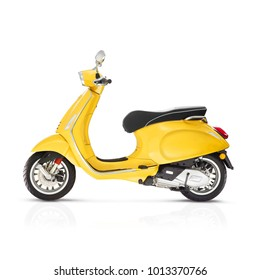 Yellow Electric Retro Motor Scooter Isolated on White Background. Side View of Vintage Motorcycle with Step-Through Platform. 3D Rendering. Modern Personal Transport. Classic Vehicle