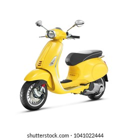Yellow Electric Vintage Motor Scooter Isolated on White Background. Side View of Retro Motorcycle with Step-Through Frame and Platform. Modern Personal Transport. 3D Render. Classic Vehicle