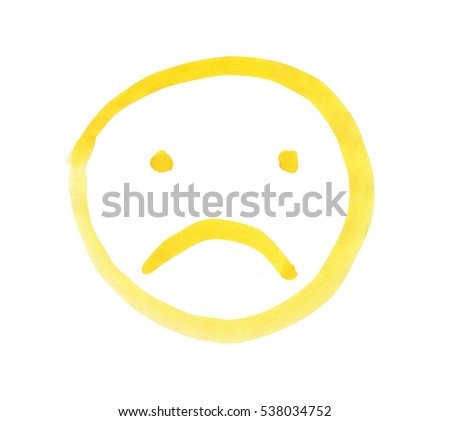 Yellow Emoticon Sad Face Painted Watercolors Stock Illustration