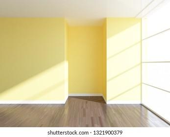yellow empty interior. 3d illustration