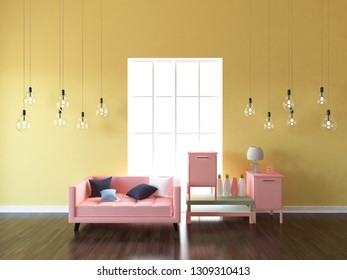 yellow empty interior with a coral sofa and bedside tables. 3d illustration