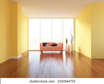yellow empty interior with a coral sofa and vases. 3d illustration