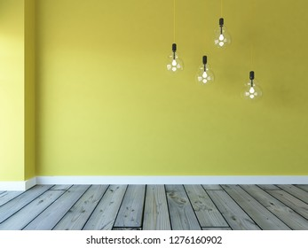 yellow empty interior with hanging bulbs. 3d illustration