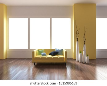 yellow empty interior with a yellow sofa and vases. 3d illustration
