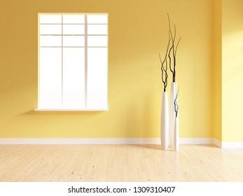 yellow empty interior with vases. 3d illustration