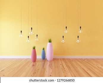 yellow empty interior with vases and bulbs. 3d illustration