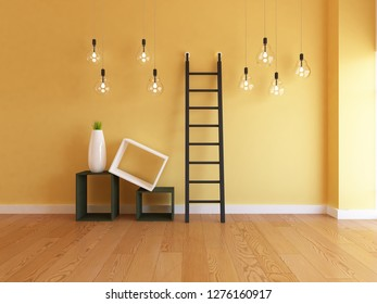 yellow empty interior with vases, ladder and hanging bulbs. 3d illustration
