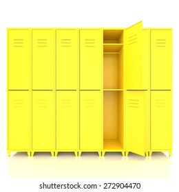 yellow empty lockers isolate on white background
