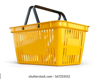 Yellow empty  shopping basket isolated on white background. 3d illustration