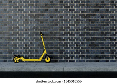 Yellow e-scooter parked on a sidewalk at a wall for urban mobility (3D Rendering)