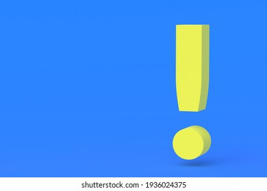 Yellow exclamation mark on blue background. Copy space. 3d render