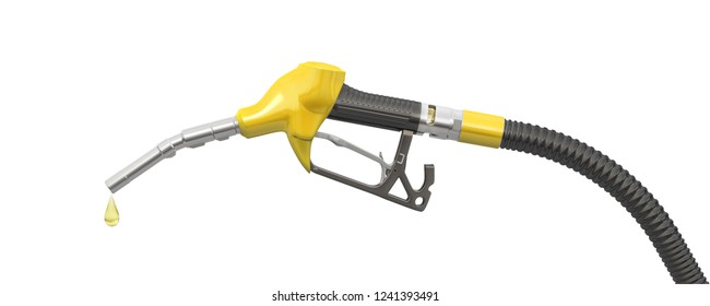 Yellow filling pistol (petrol pistol or oil dispenser) and a drop of petrol. 3d illustration. Isolated on white background.