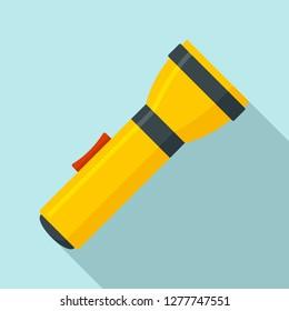 Yellow flashlight icon. Flat illustration of yellow flashlight icon for web design