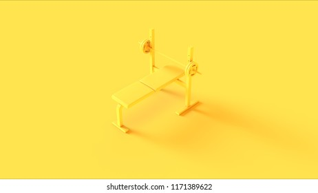 Yellow Flat Weight Bench 3d illustration 3d rendering