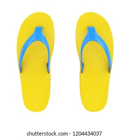 Yellow Flip Flops Sandals on a white background. 3d Rendering