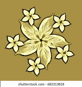 Yellow floral drawing