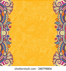 yellow floral ornamental template with place for your text, oriental vintage pattern for invitation party card, brochure design, postcard, packing, book cover, raster version illustration