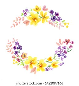 Yellow floral wreath in watercolor with beautiful colourful purple pink summer flowers in circle arrangement of two parts for Easter greeting card or lettering hand drawn isolated on white