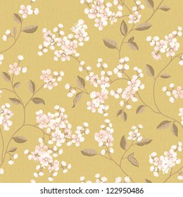 Yellow flowers seamless pattern - background for continuous replicate.