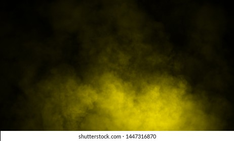 Yellow fog or smoke isolated special effect on the floor. Yellow cloudiness, mist or smog background