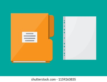 Yellow folder for correspondence and file for paper document. School, business, education template. Stationery. Office supply. illustration flat style