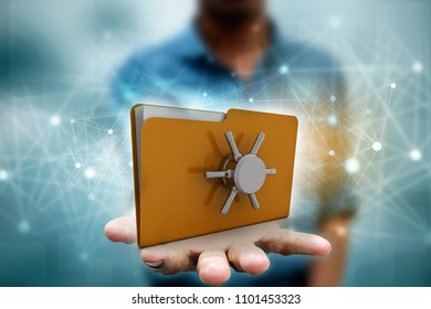 Yellow folder and lock. Data security concept. 3D rendering