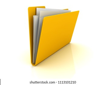 Yellow folder with paper out. 3d image renderer