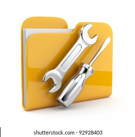 Yellow folder with wrench and screwdriver. Icon 3d . Computer service.  isolated on white