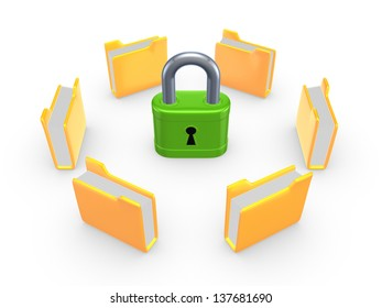 Yellow folders around green lock.Isolated on white.3d rendered.