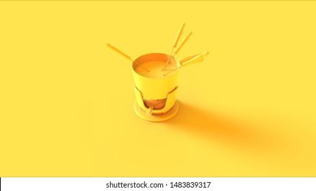 Yellow Fondue Set Pot 3d illustration 3d render