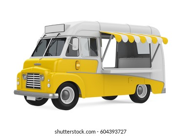 Yellow Food Truck Isolated. 3D rendering