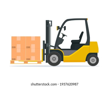 Yellow forklift truck isolated on white background. Forklift unloads the pallets with boxes. Delivery, logistic and shipping cargo. Warehouse and storage equipment. illustration in flat style