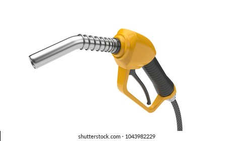 yellow fuel nozzle, close up view. 3d illustration