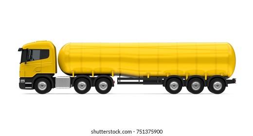 Yellow Fuel Tanker Truck. 3D rendering