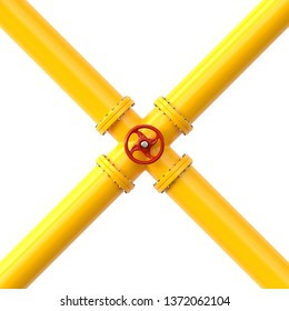 Yellow gas pipe. Fuel and energy industrial concept. 3d illustration