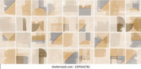 Yellow geometric watercolor background, digital wall tile design for kitchen and bathroom