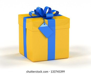 Yellow gift box with blue ribbon 3d render