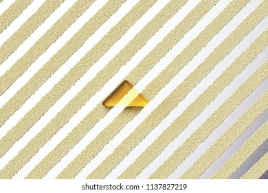 Yellow Glass Caret Up Icon on the Silver Stripe Background. 3D Illustration of Yellow Arrow, Caret, Drop Up, Up, Upload Icon Set With Fur Stripes Silver Background.