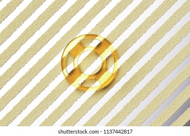 Yellow Glass Life Ring Icon on the Silver Stripe Background. 3D Illustration of Yellow Floatation Device, Guardar, Life Buoy, Life Ring, Life Save Icon Set With Fur Stripes Silver Background.