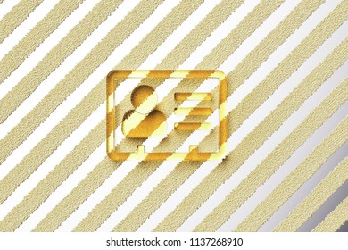 Yellow Glass Vcard Icon on the Silver Stripe Background. 3D Illustration of Yellow v Card, v Card, Vcard, Vcard File, Vcard File Icon Set With Fur Stripes Silver Background.